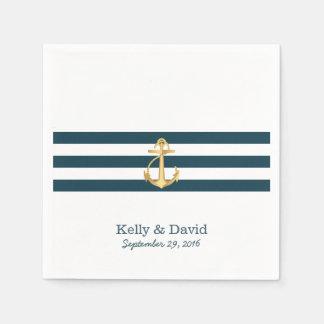 Gold Anchor Navy Blue Stripes Nautical Wedding Disposable Serviette