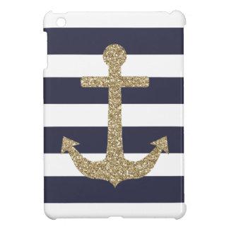 Gold Anchor Navy & White Stripes iPad Mini Case