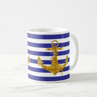 Gold Anchor on Blue Stripes Coffee Mug