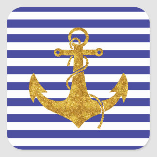 Gold Anchor on Blue Stripes Square Sticker