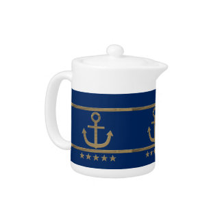 gold anchor on navy blue background