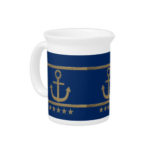 gold anchor on navy blue background pitcher