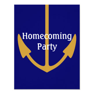 """Gold anchor on Navy Blue Naval Party Invitations 4.25"""" X 5.5"""" Invitation Card"""