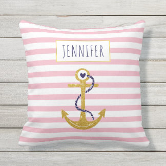 Gold  anchor pink striped pattern trendy nautical outdoor cushion