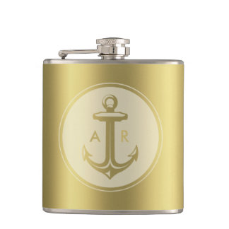Gold anchor with initials hip flask