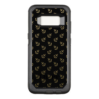 Gold Anchors Black Background Pattern OtterBox Commuter Samsung Galaxy S8 Case