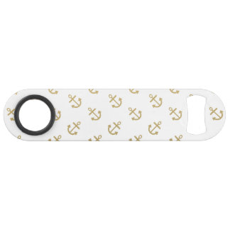 Gold Anchors White Background Pattern
