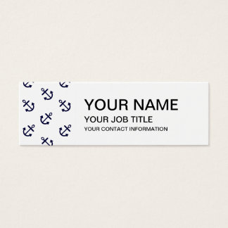 Gold Anchors White Background Pattern Mini Business Card