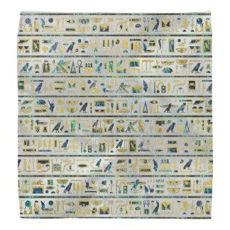 Gold and Abalone Egyptian hieroglyphs on pearl Bandana