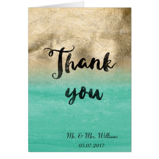 Gold and aqua green watercolor wedding design card