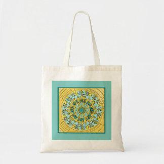 Gold and Aqua Lotus Mandala Tote Bag