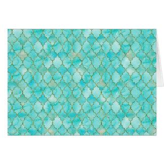Gold and Aqua Maroccan pattern Card