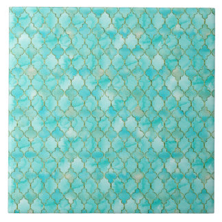 Gold and Aqua Maroccan pattern Tile
