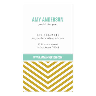 Gold and Aqua Modern Chevron Stripes Double-Sided Standard Business Cards (Pack Of 100)