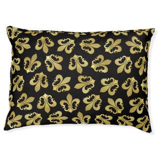 Gold and back fleur-de-lis dog bed Pet bed