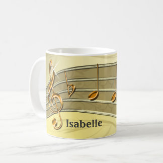 Gold and Beige Music Staff and Notes Personalized Coffee Mug