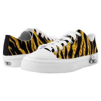 Gold And Black Animal Tigers Stripes Low Tops