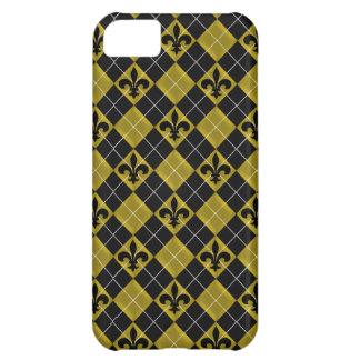 Gold and Black Argyle Fleur de Lis Case For iPhone 5C