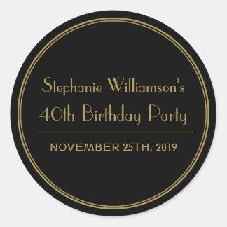 Gold and Black Art Deco Birthday Party Seals Round Sticker