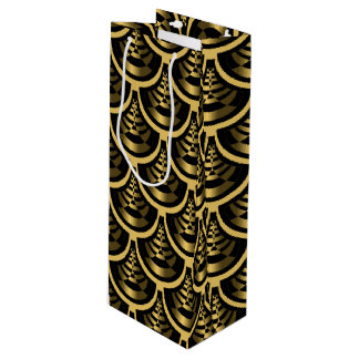 Gold and Black | Art Deco Classy Wine Gift Bag