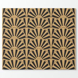 Gold and Black Art Deco Fan Flowers Motif