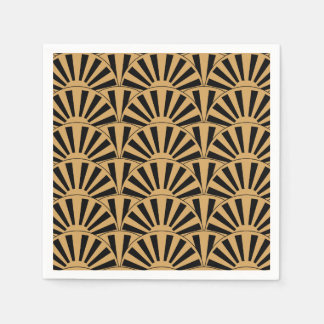 Gold and Black Art Deco Fan Flowers Motif Paper Serviettes