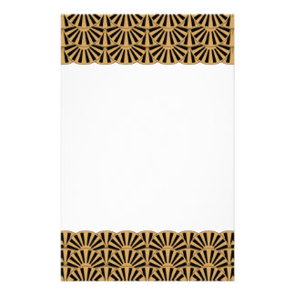 Gold and Black Art Deco Fan Flowers Motif Personalized Stationery