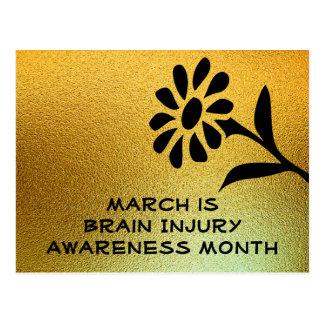 Gold and Black Brain Injury Awareness Postcard