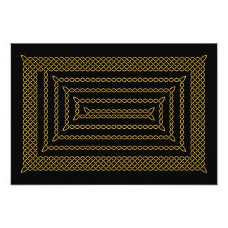 Gold And Black Celtic Rectangular Spiral Photographic Print
