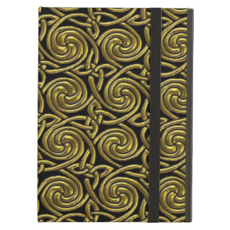 Gold And Black Celtic Spiral Knots Pattern iPad Air Cases
