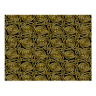 Gold And Black Celtic Spiral Knots Pattern Postcard