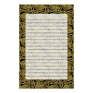 Gold And Black Celtic Spiral Knots Pattern Customized Stationery