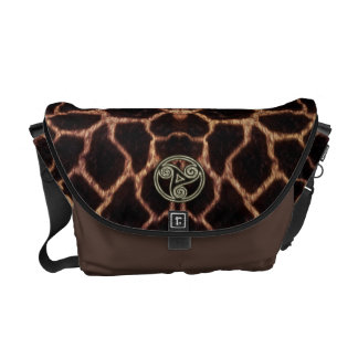 Gold and Black Celtic Triple Spiral Giraffe Skin Commuter Bags