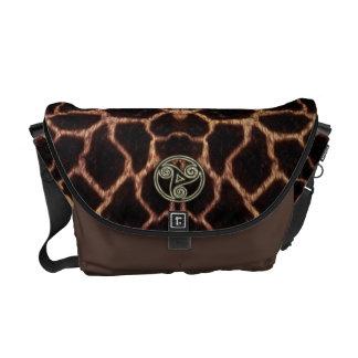 Gold and Black Celtic Triple Spiral Giraffe Skin Courier Bag