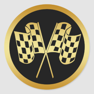 GOLD AND BLACK CHECKERED FLAG CLASSIC ROUND STICKER