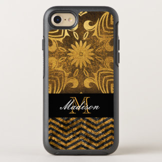 Gold and Black Chevron Abstract Elegant Monogram OtterBox Symmetry iPhone 8/7 Case