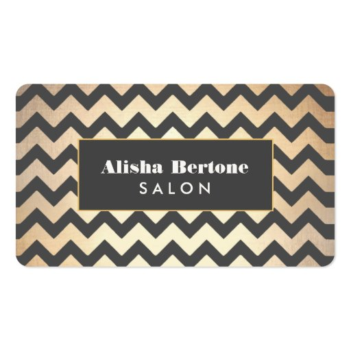 Gold and Black Chevron Pattern Salon & Spa Business Card