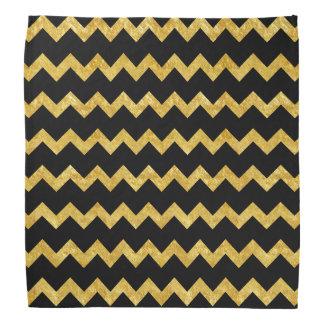 Gold and Black Chevron Stripes Bandana