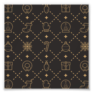 Gold and Black Christmas Symbols Seamless Pattern Art Photo