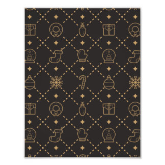 Gold and Black Christmas Symbols Seamless Pattern Photographic Print