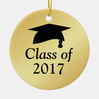 Gold and Black Class of 2017 Graduation Ceramic Ornament