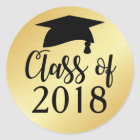 Gold and Black Class of 2018 Graduation Favour Classic Round Sticker