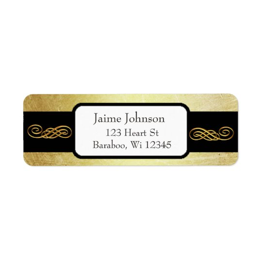 Gold and Black Classy  Return Address Sticker