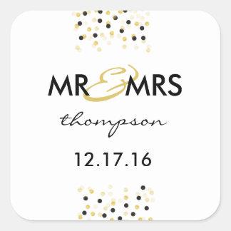 Gold and Black Confetti Mr & Mrs Sticker