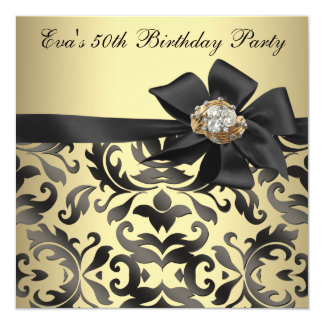 Gold and Black Damask 50th Birthday Party Card