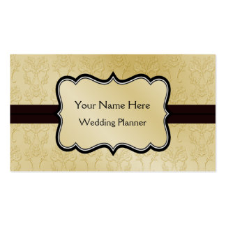 Gold and Black Damask business cards