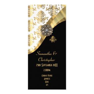 Gold and black damask church wedding program rack card
