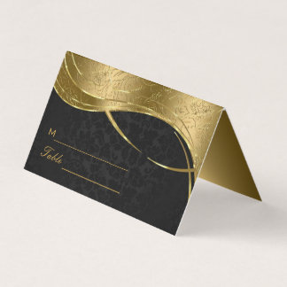 Gold And Black Damask Place Card