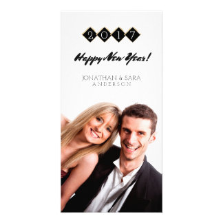 Gold and Black Diamonds Happy New Year Custom Photo Card
