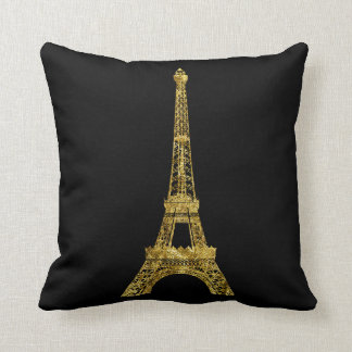 Gold and Black Eiffel Tower Cushion